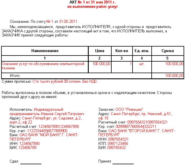 Акт выполненных работ: бланк, форма, образец