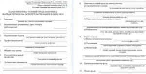 Характеристики условий труда для МСЭ: образец и как заполнить сведения о характере и условиях труда как написать для мсэ - бланк
