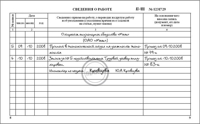 Исправление в трудовой книжке: образец, дата, титульный, ФИО, как правильно исправить ошибочную запись, внести изменения