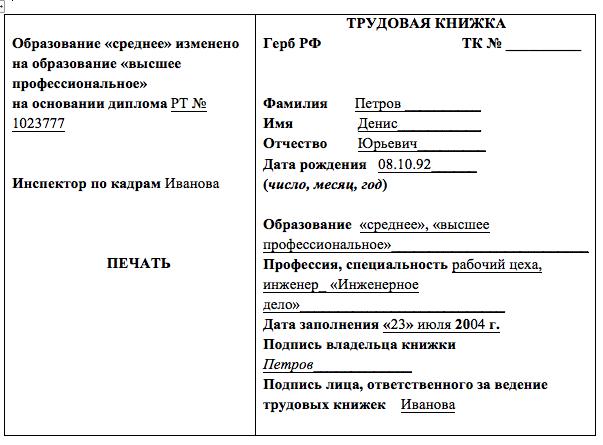 Запись в трудовой книжке об образовании: образец, как пишется, вписывается, изменяется, титульный лист, бакалав