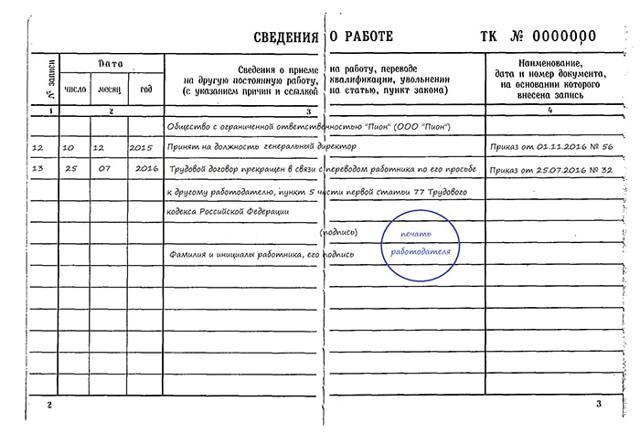 Запись об увольнении в трудовой книжке генерального директора: образец, запись о приеме на работу, оформление учредителя