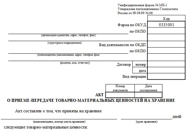 Акт приема-передачи товара: образец, покупателю, на ответственное хранение, оказанных услуг