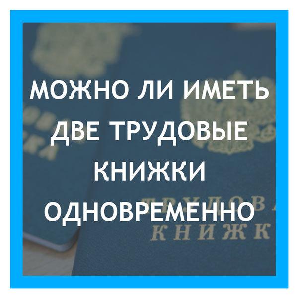 Можно ли работать по двум трудовым книжкам в разных организациях: как сделать 2 трудовые, сколько можно иметь законно